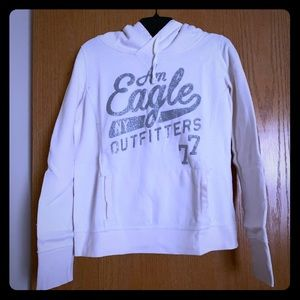 AEO off white with glitter hoodie; Size Medium